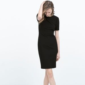 Zara Black fitted dress exposed back